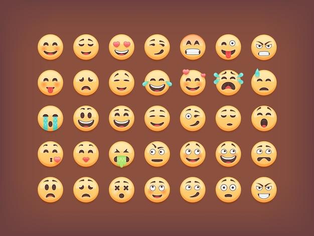 Conjunto de emoticons, pacote de ícones de smileys, emoji em fundo marrom, ilustração. Vetor Premium