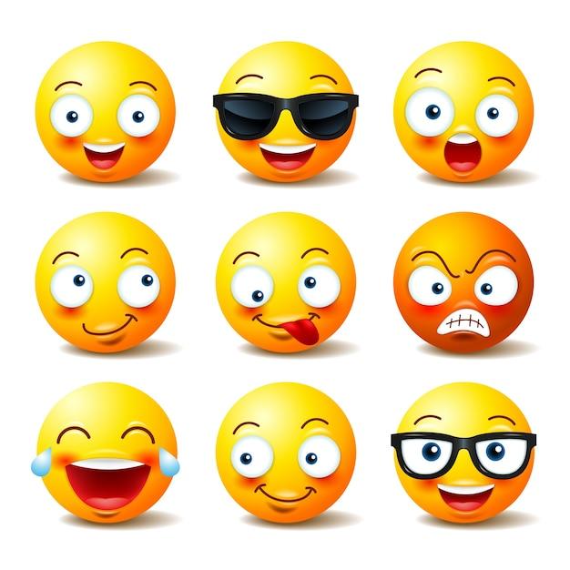 Conjunto de emoticons Vetor Premium