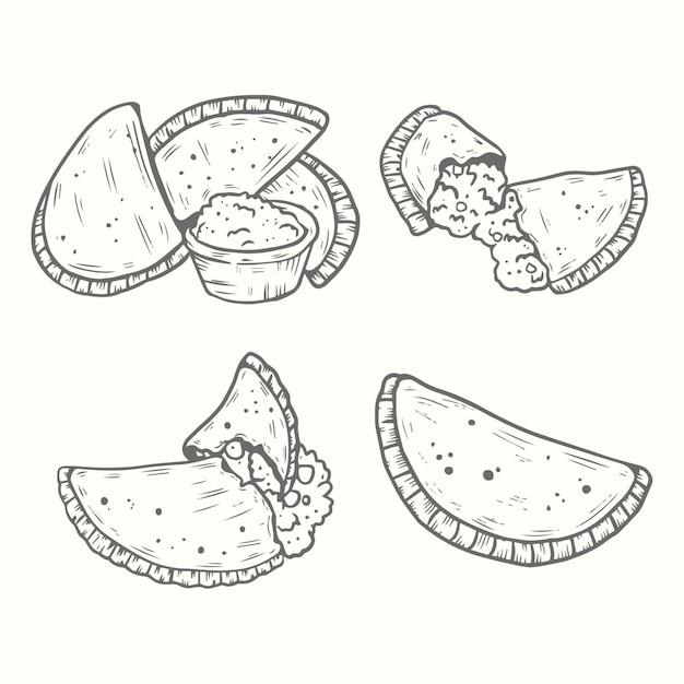 Conjunto de empanada de mão desenhada Vetor grátis
