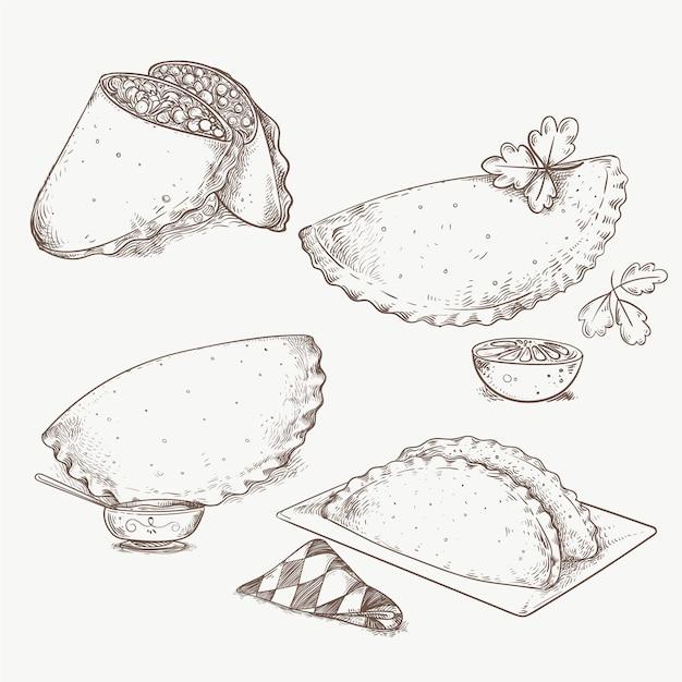 Conjunto de empanadas Vetor grátis