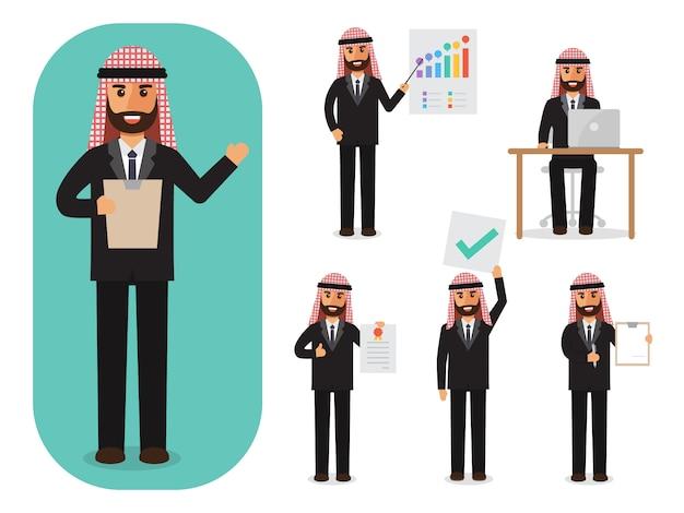 Conjunto de empresário árabe no trabalho. Vetor Premium