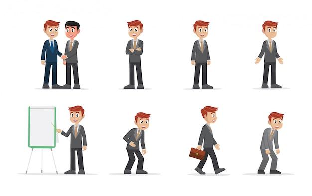 Conjunto de empresário. Vetor Premium