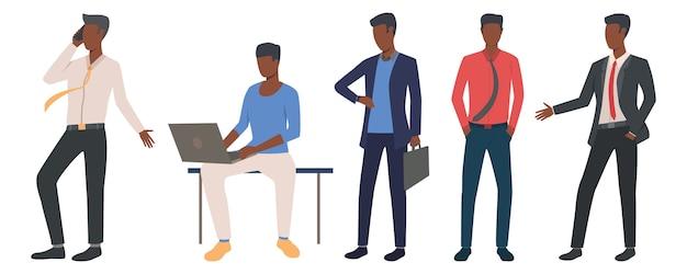 Conjunto de empresários negros principais negócios Vetor grátis