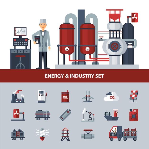 Conjunto de energia e indústria Vetor grátis