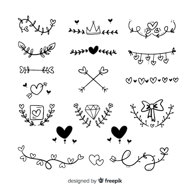 Conjunto de enfeites de casamento de mão desenhada Vetor grátis