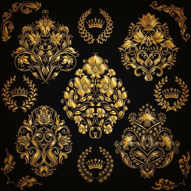Conjunto de enfeites de damasco. Vetor Premium