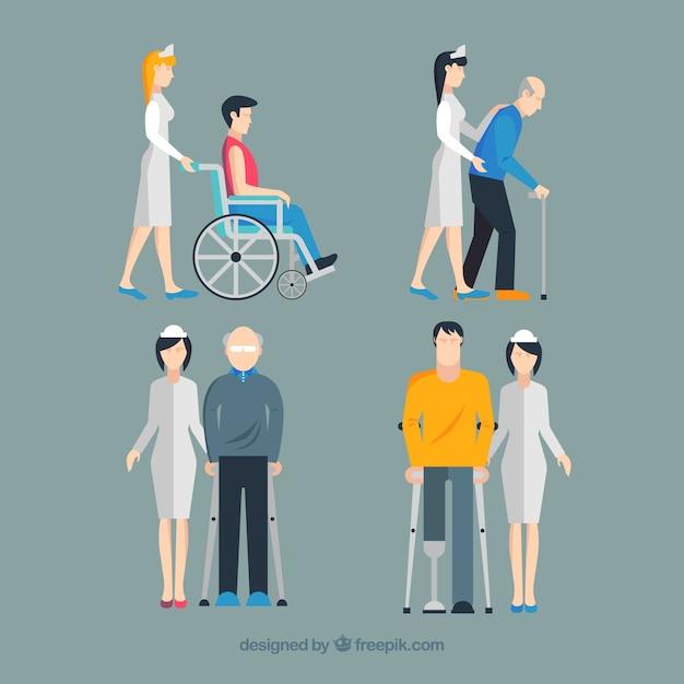 Conjunto de enfermeiras que ajudam pessoas feridas com design plano Vetor grátis