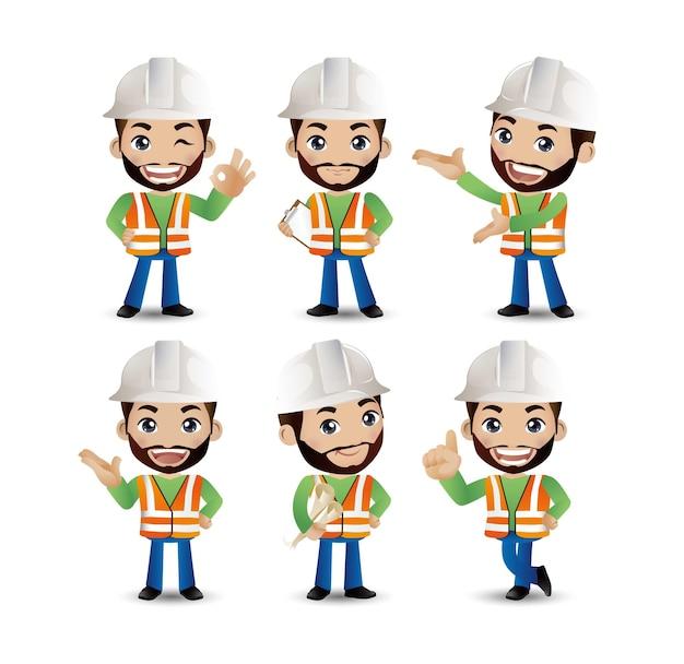 Conjunto de engenheiro, trabalhador Vetor Premium