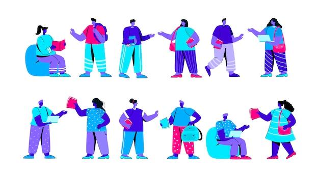 Conjunto de engraçado faculdade ou universidade estudantes personagem azul plana pessoas Vetor Premium