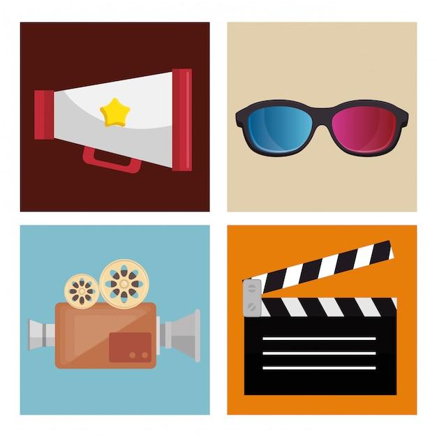 Conjunto de entretenimento de cinema ícones Vetor grátis
