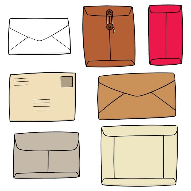 Conjunto de envelope Vetor Premium