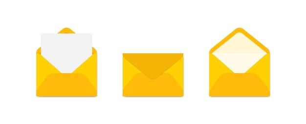 Conjunto de envelopes amarelos em vistas diferentes. Vetor Premium