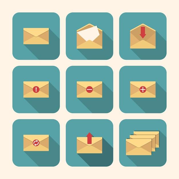 Conjunto de envelopes simples Vetor Premium