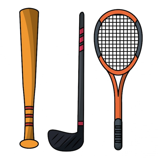 29b8897de Conjunto de equipamento de esporte de raquete de morcego Vetor Premium
