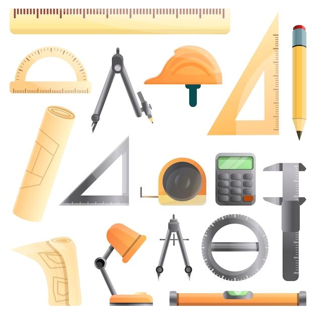 Conjunto de equipamentos de arquiteto, estilo cartoon Vetor Premium