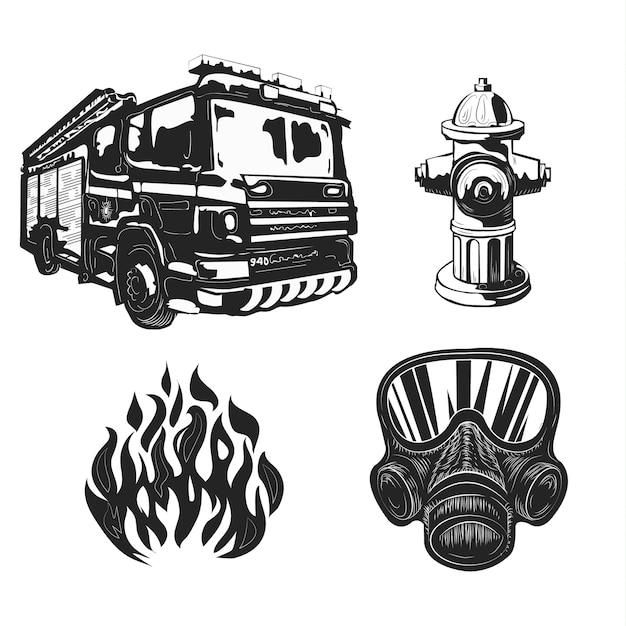 Conjunto de equipamentos de bombeiro isolado no branco. Vetor Premium
