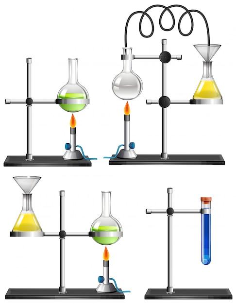 Conjunto de equipamentos de ciência em branco Vetor grátis