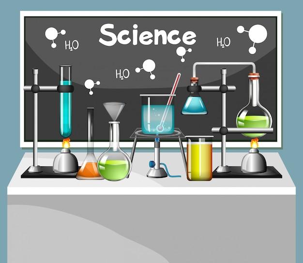 Conjunto de equipamentos de ciência em laboratório Vetor grátis