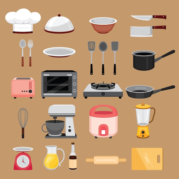 Conjunto de equipamentos de cozinha, eletrodomésticos Vetor Premium