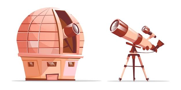 Conjunto de equipamentos de descoberta de astronomia dos desenhos animados. cúpula observatório com telescópio de rádio Vetor grátis