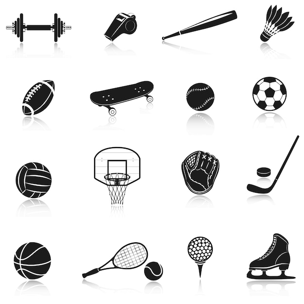 Conjunto de equipamentos de esporte Vetor grátis