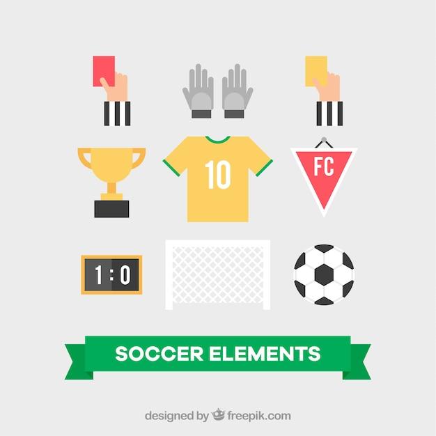 Conjunto de equipamentos de futebol em estilo simples Vetor grátis