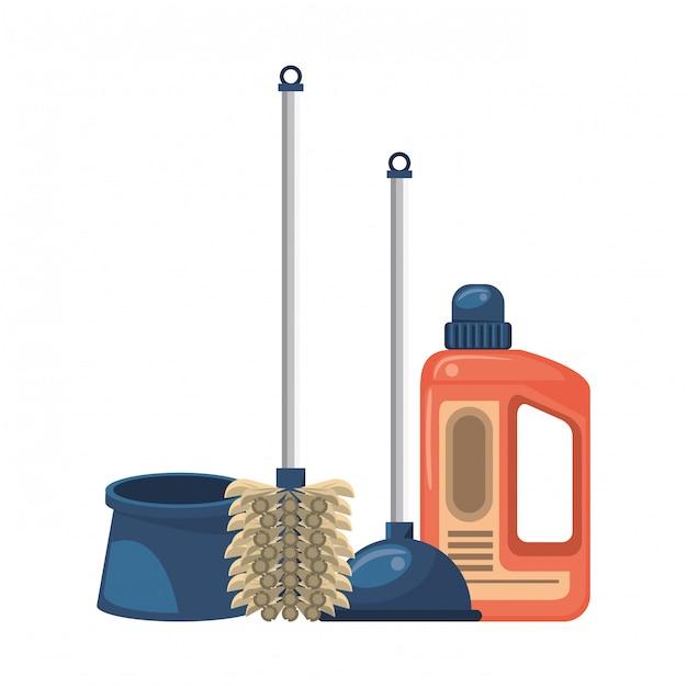 Conjunto de equipamentos de limpeza e produtos Vetor Premium