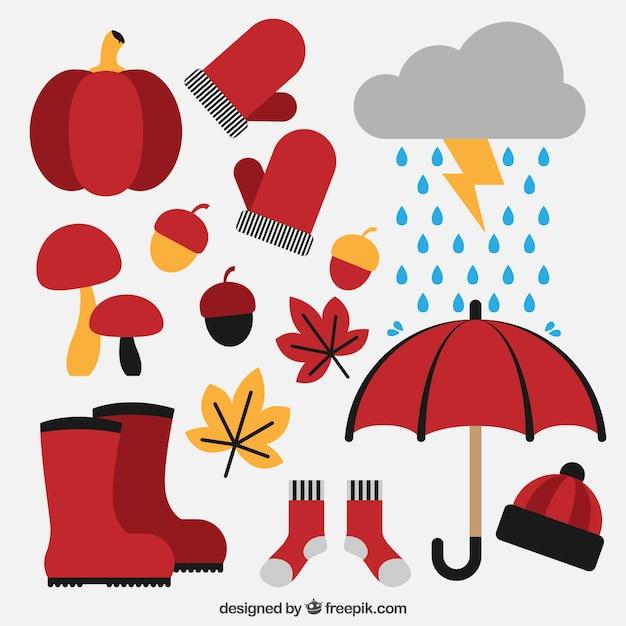 Conjunto de equipamentos de outono e elementos naturais Vetor grátis