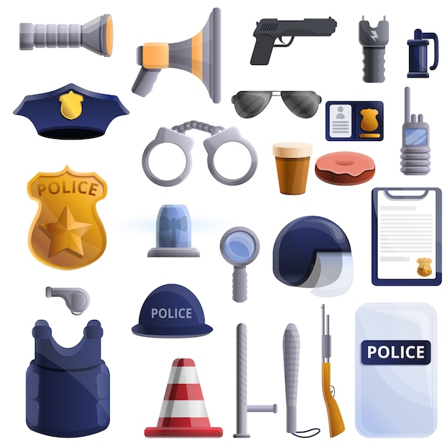 Conjunto de equipamentos de polícia, estilo cartoon Vetor Premium