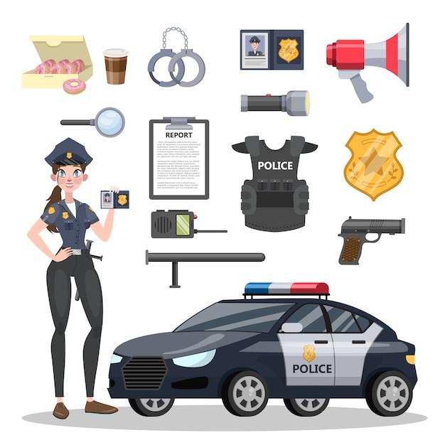 Conjunto de equipamentos de policial. belo policial e carro. distintivo e arma, algemas e munições. ilustração em vetor plana isolada Vetor Premium