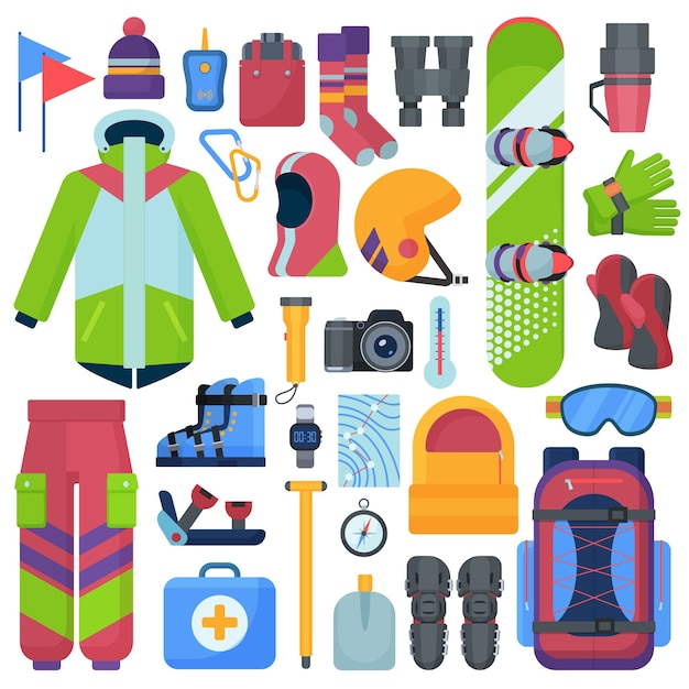 Conjunto de equipamentos de snowboard de montanha. Vetor Premium