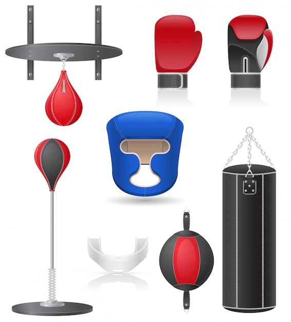 Conjunto de equipamentos para ilustração vetorial de boxe Vetor Premium