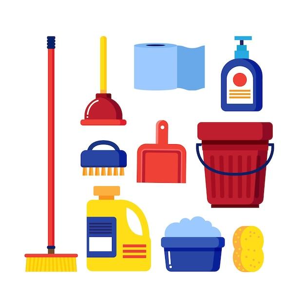 Conjunto de equipamentos para limpeza de superfícies Vetor grátis
