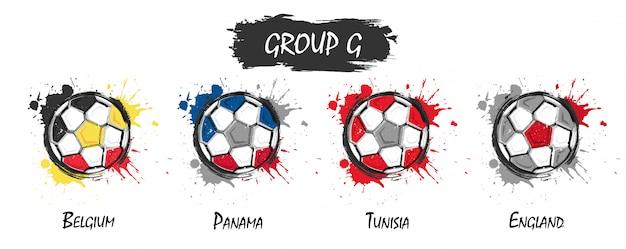 Conjunto de equipe nacional de futebol do grupo g. pintura de arte aquarela realista com respingo manchado Vetor Premium