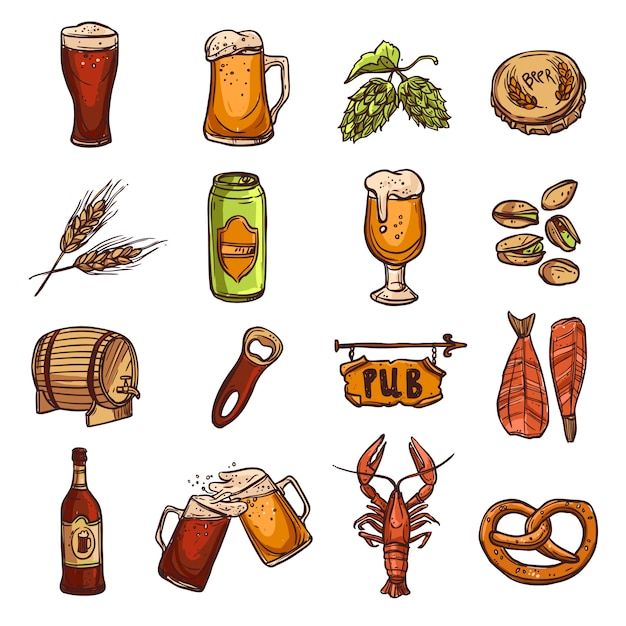 Conjunto de esboço de cerveja Vetor grátis