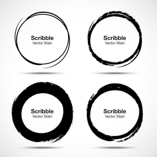Conjunto de esboço de escova de círculo desenhado de mão. grunge doodle rabisco círculos redondos para elemento de design de marca de nota de mensagem. escove manchas circulares. Vetor Premium