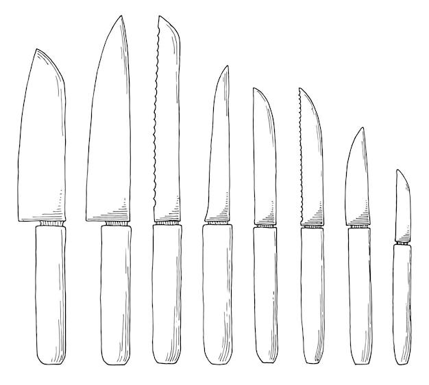 Conjunto de esboço de facas de cozinha. ilustração Vetor Premium
