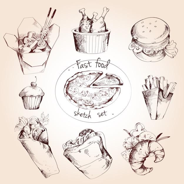 Conjunto de esboço de fast food Vetor grátis