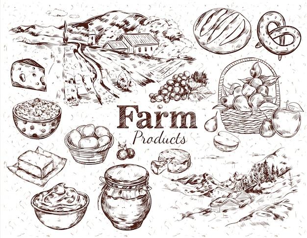 Conjunto de esboço de produtos agrícolas Vetor grátis