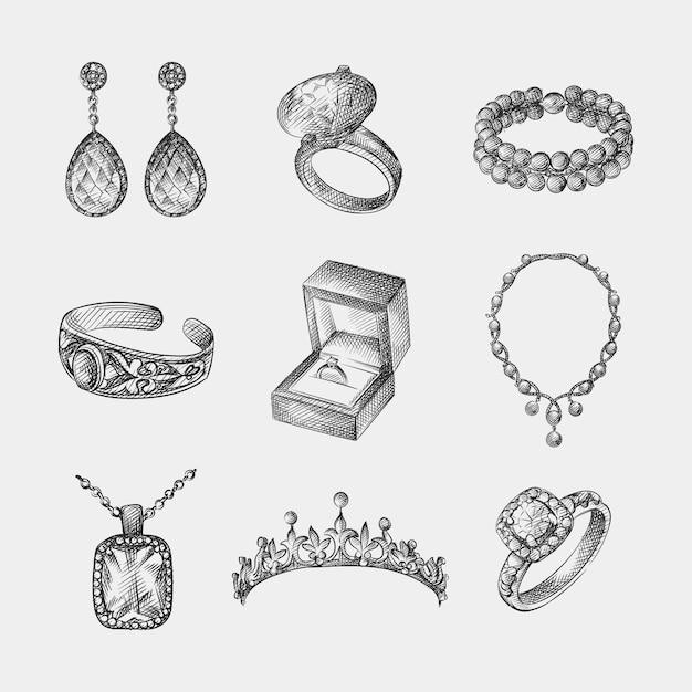 Conjunto de esboço desenhado à mão de jóias vintage e bijuteria. o conjunto inclui brincos, anel com diamantes, pulseira, colar, tiara, anel de noivado na caixa, colar com pingente, anel com pedra Vetor Premium