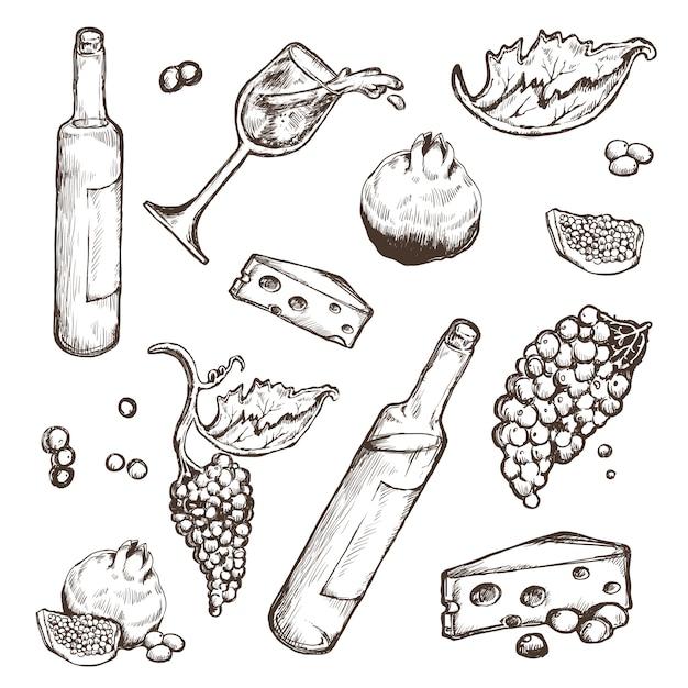 Conjunto de esboços de bebidas e comida em um branco. Vetor Premium