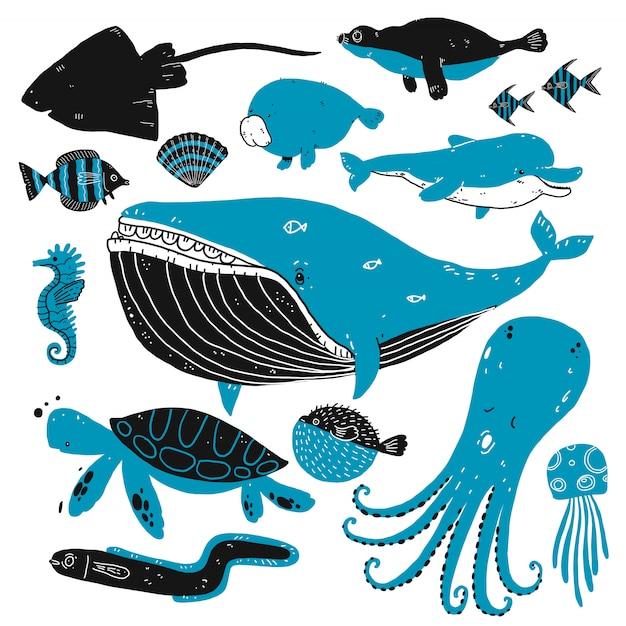 Conjunto de esboços de criaturas do fundo do mar. Vetor Premium