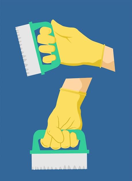 Conjunto de escova de limpeza doméstica na mão. equipamento de desinfecção, saneamento Vetor Premium