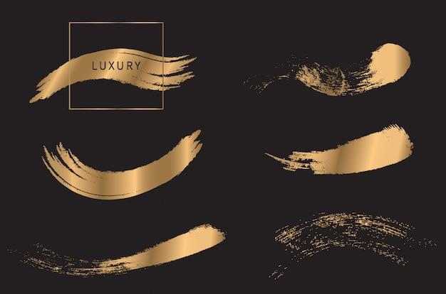 Conjunto de escova de ouro Vetor Premium