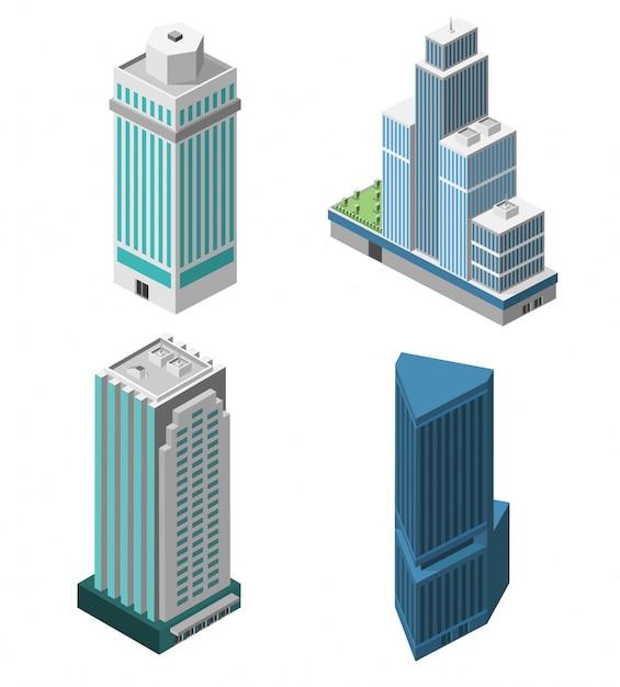 Conjunto de escritórios dos arranha-céus Vetor grátis