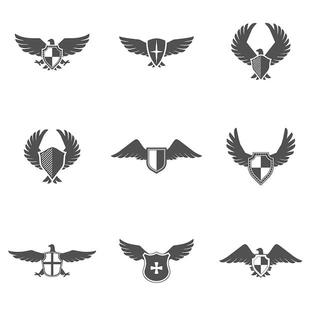 Conjunto de escudo de ícone de águia Vetor grátis
