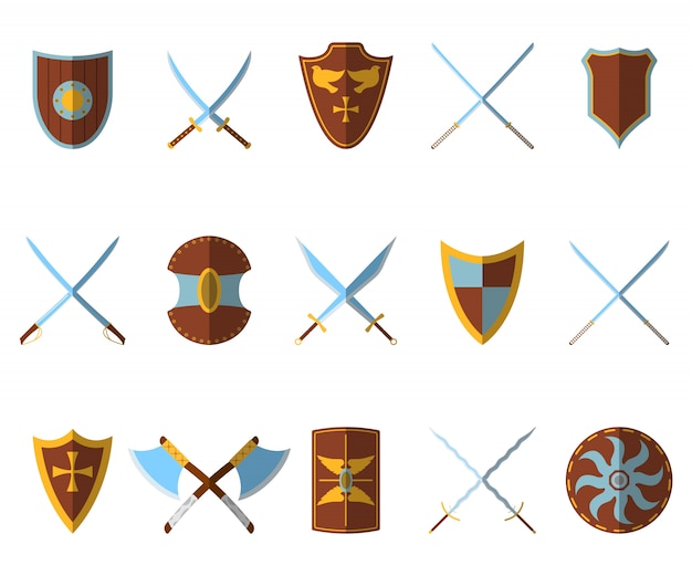 Conjunto de escudo medieval e armas Vetor Premium