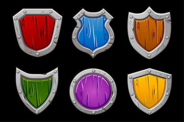 Conjunto de escudos de pedra multicoloridos de várias formas. Vetor grátis