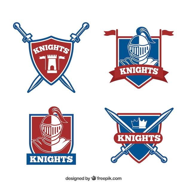 Conjunto de escudos heráldicos com armaduras e espadas Vetor grátis