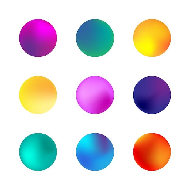 Conjunto de esfera gradiente holográfico. gradientes de círculo de néon diferentes. botões redondos coloridos isolados no branco. Vetor Premium